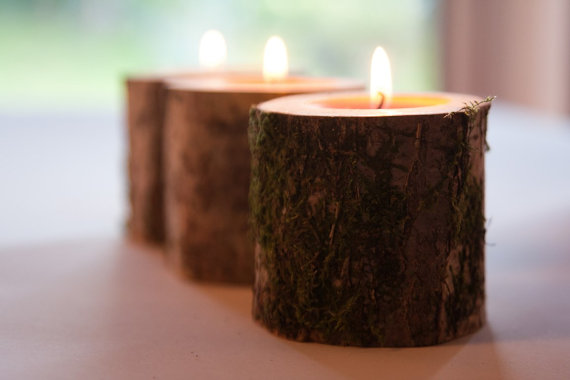 Wood tea light holder for winter wedding decor