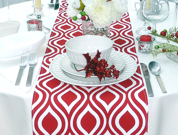 Red patter table runner for Christmas