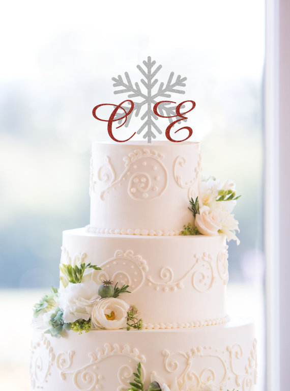 Snowflake wedding cake topper with monogram