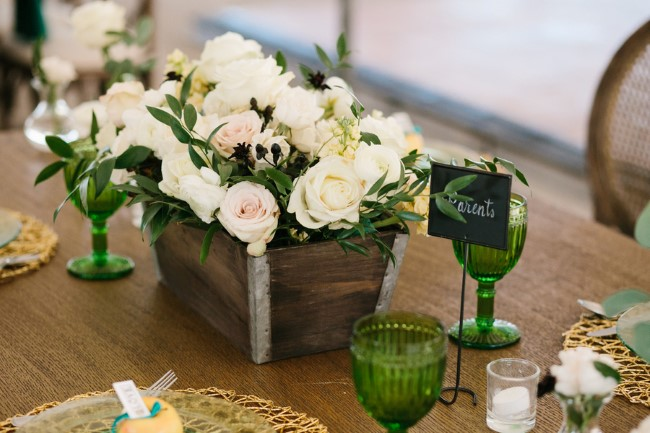 Green themed Wedding reception table scape created by shannon rose events