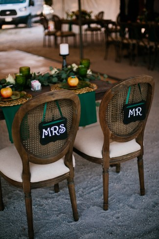 Mr and Mrs chair for wedding reception
