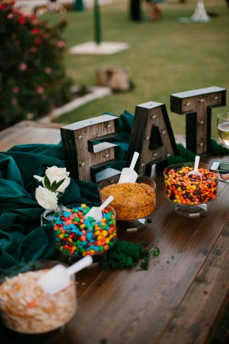 Light up marquee spelling EAT for wedding reception dessert table