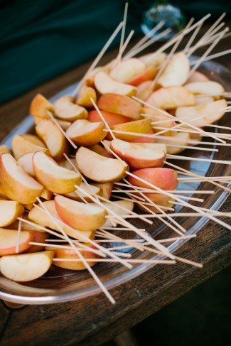 Apples pieces on skewers for Wedding reception dessert table