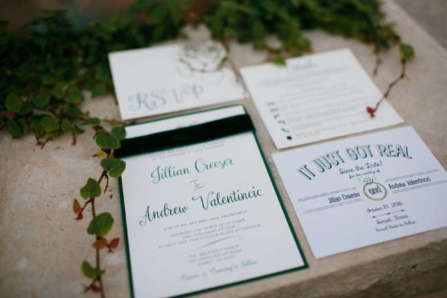 Forest green themed wedding invitation suite