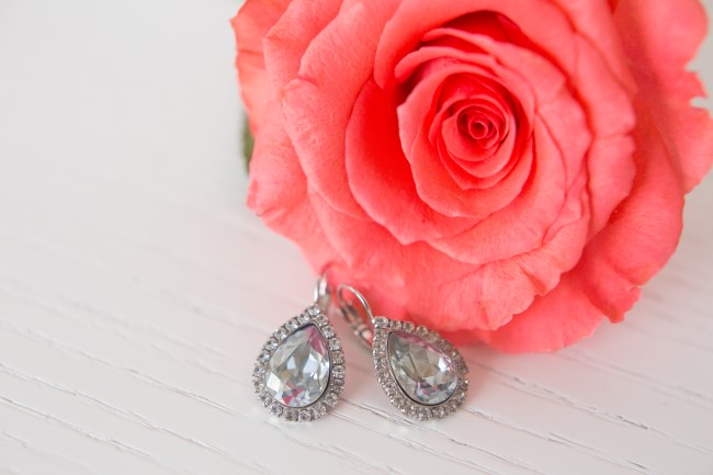 Tear drop crystal earnings with halo for bridal jewelry created by Jeweliette