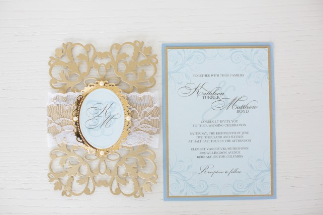 Gold and blue lazer cut wedding stationery created by Making Memories With Scrapbooking
