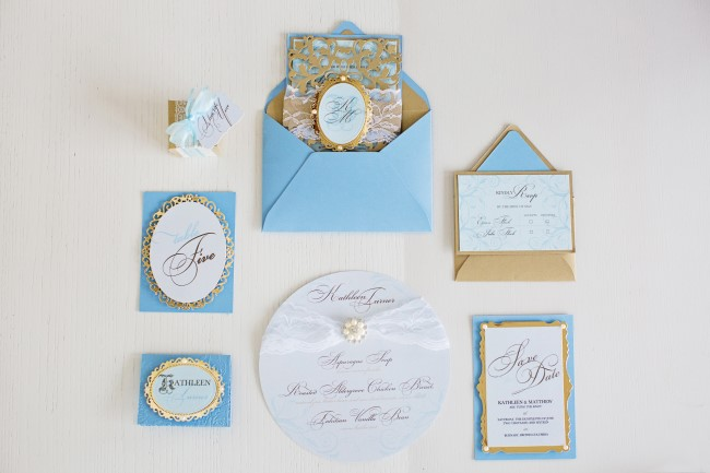 Gold and blue wedding stationary created by Making Memories With Scrapbooking
