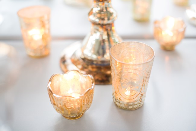mercury glass candle holders rented from Infinity Luxury Linen & Décor