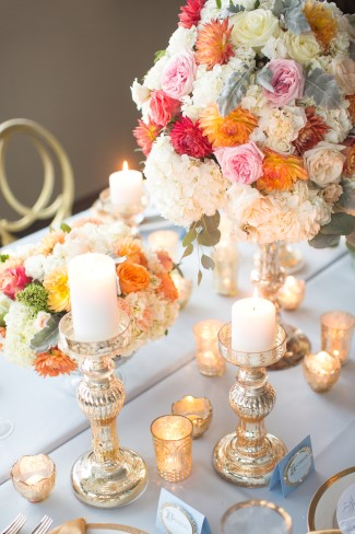 Mercury glass candle holders and flower vase from Infinity Luxury Linen & Décor