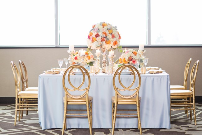 An Elegant Table of Dusty Blue and Gold Accents