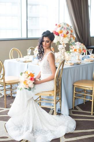 Gold and blue wedding Styled shoot captured by Denise Lin Photography