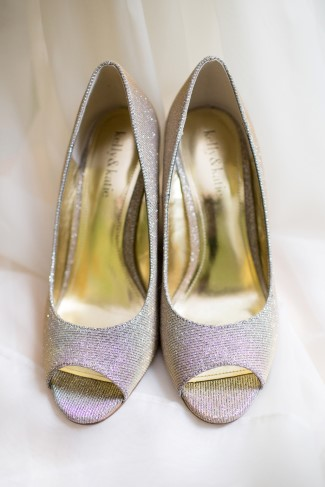 sparkly silver Peep toe heels for bridal attire