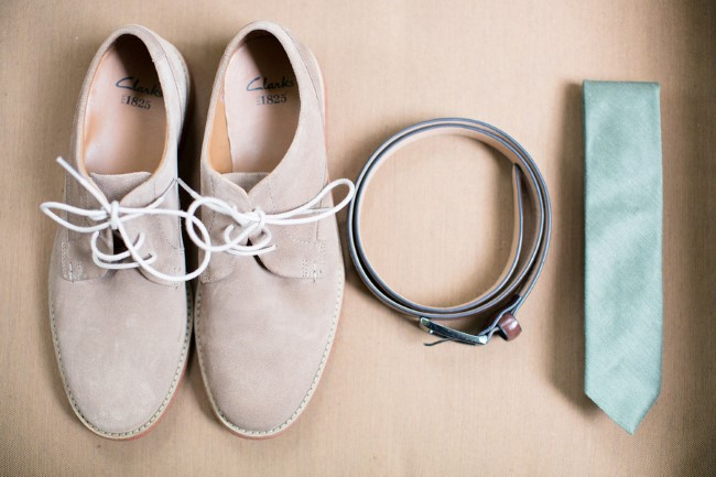 Grooms Clark taupe shoes with blue tie and grey belt