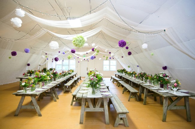 Tented Wedding reception at Genesee Valley with paper flowers