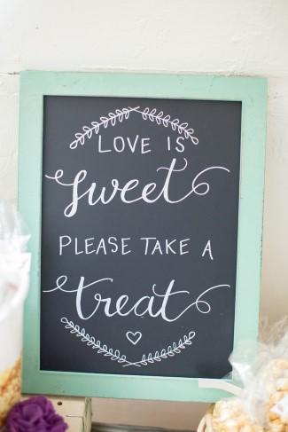 Love is sweet please take a treat chalkboard wedding reception sign