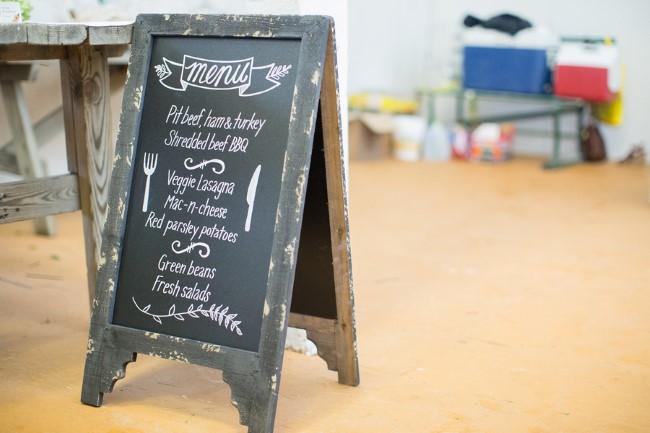 Wedding chalkboard sandwich sign for reception menu