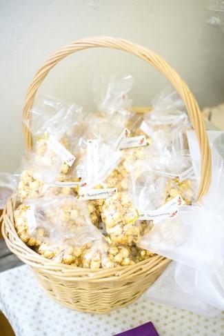 Basket full of wedding favor popcorn