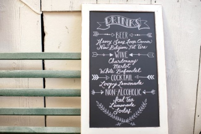Chalkboard sign with white frame for wedding reception drink menu
