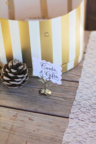 Gold and white stripped hat box for wedding guests cards