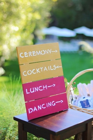 Wooden wedding schedule sign
