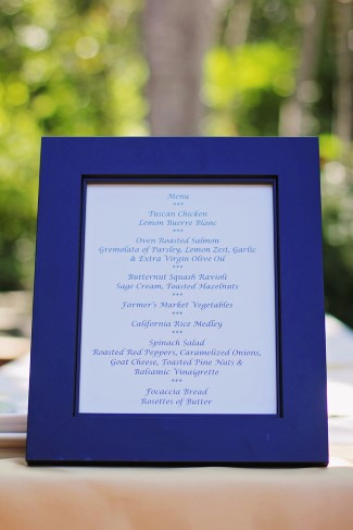 Wedding reception menu in a blue frame