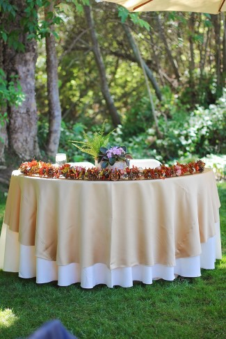 Outdoor fall wedding reception at See Canyon Fruit Ranch