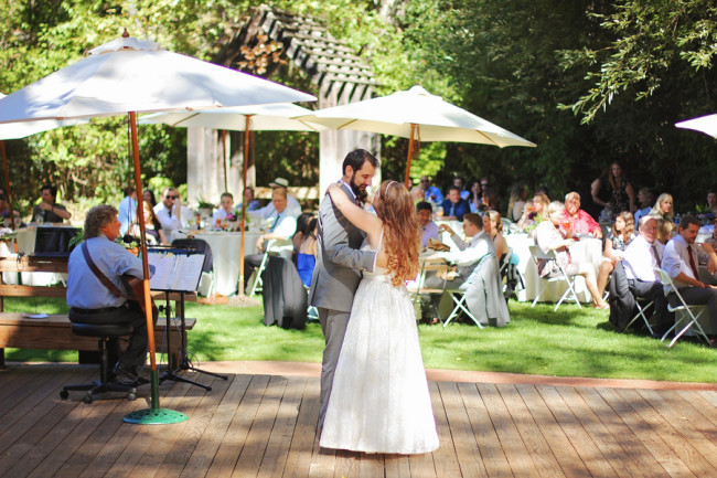 Bride and groom dancing during outside wedding reception at See Canyon Fruit Ranch