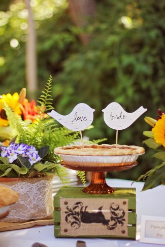 Love bird themed cake toppers for a pie wedding cake