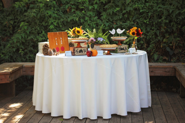 Outdoor fall wedding reception dessert pie bar