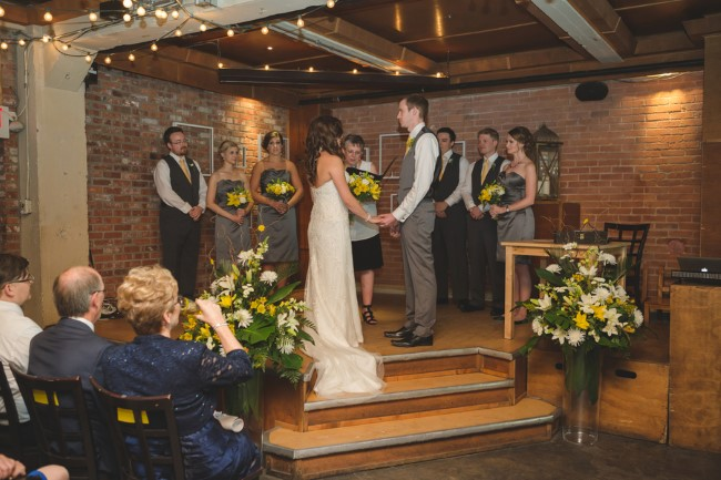 Yellow Themed Wedding Ceremony At Yellowhead Brewery