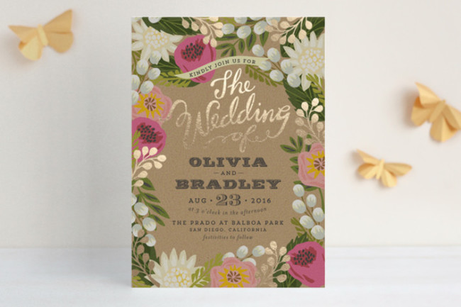 floral and pink wedding invite from Minted