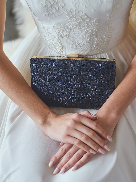 Navy Box Clutch