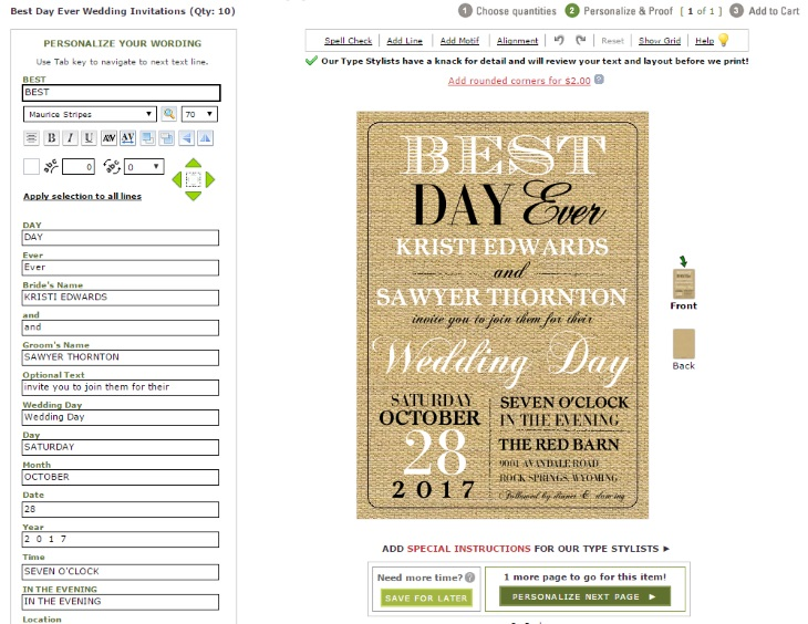 Paper style wedding invitation design tool