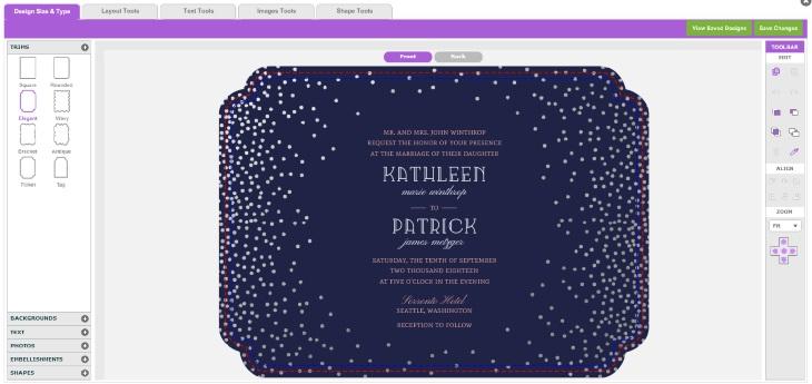Purple Trail Wedding Invitation Design tool