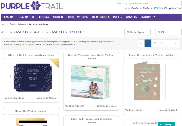 Purple Trail Wedding Invitation page