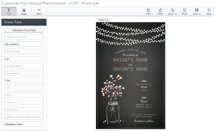 vista print wedding invitation design tool