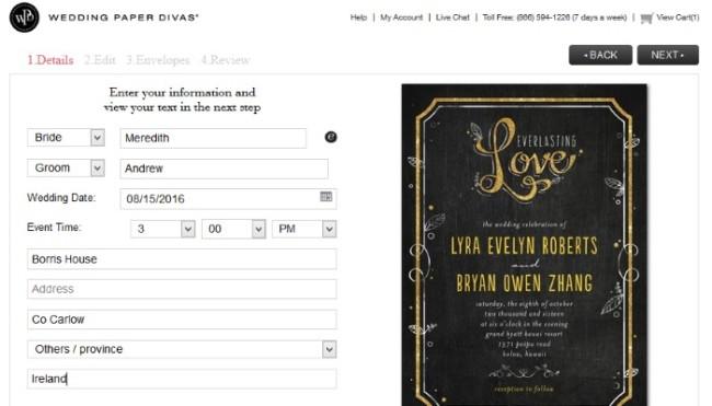 Wedding paper Divas Wedding invitations design tool