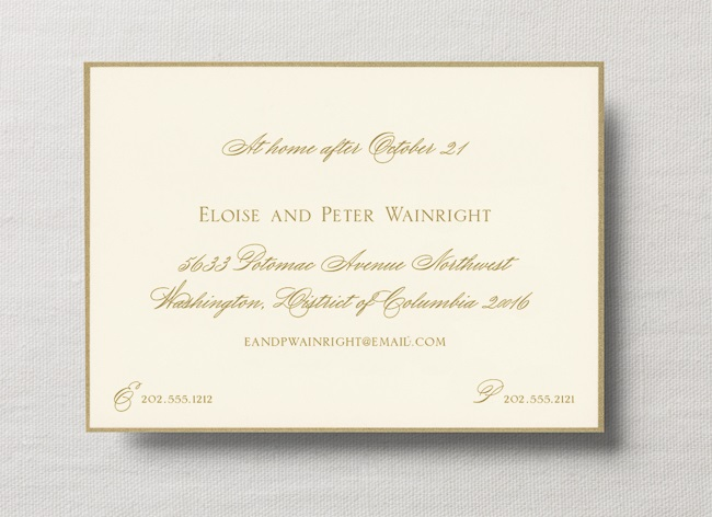 Example at-home wedding card enclosure