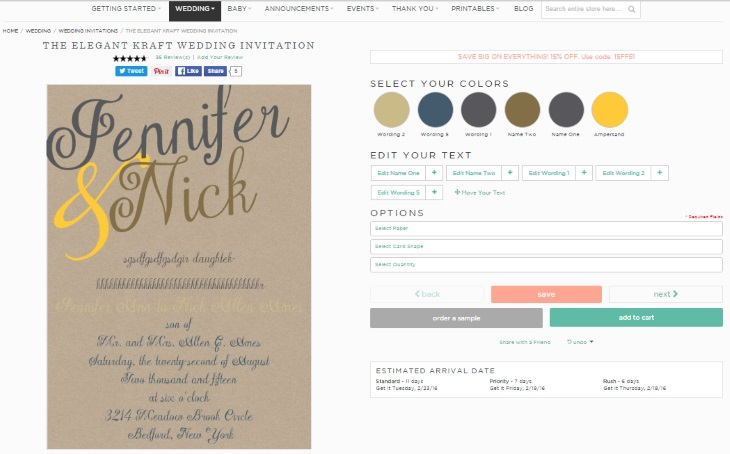 basic Invite wedding stationery design tool