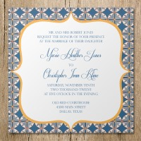 blue gold mosaic wedding invitation