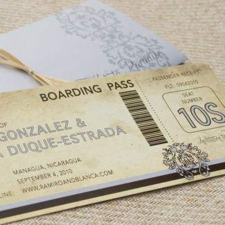 Save the date boarding pass for a wedding