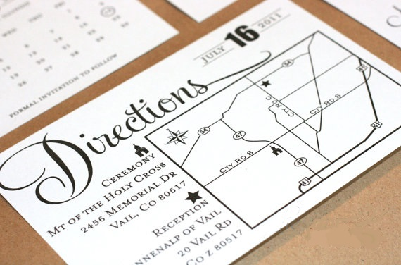 example wedding direction enclosure card