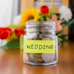 wedding savings jar with coins ft