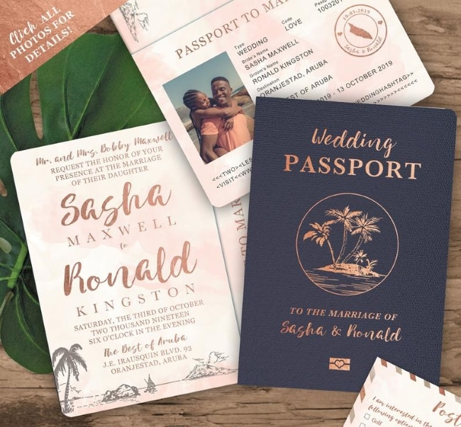 Beach Wedding Passport Save the Date Destination Invitation Set
