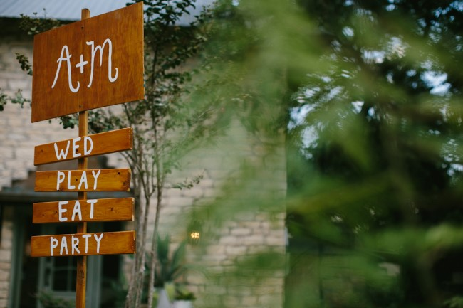 """Wooden wedding sign """"A +M, wed, play, eat, party"""""""