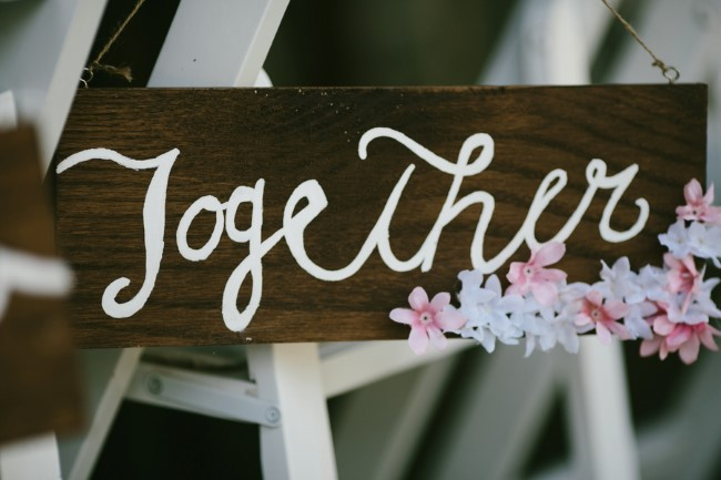 """Wooden wedding sign with flowers that says """"together"""""""