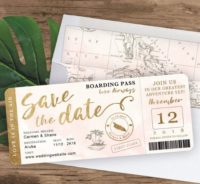 Destination Wedding Boarding Pass Save the Date