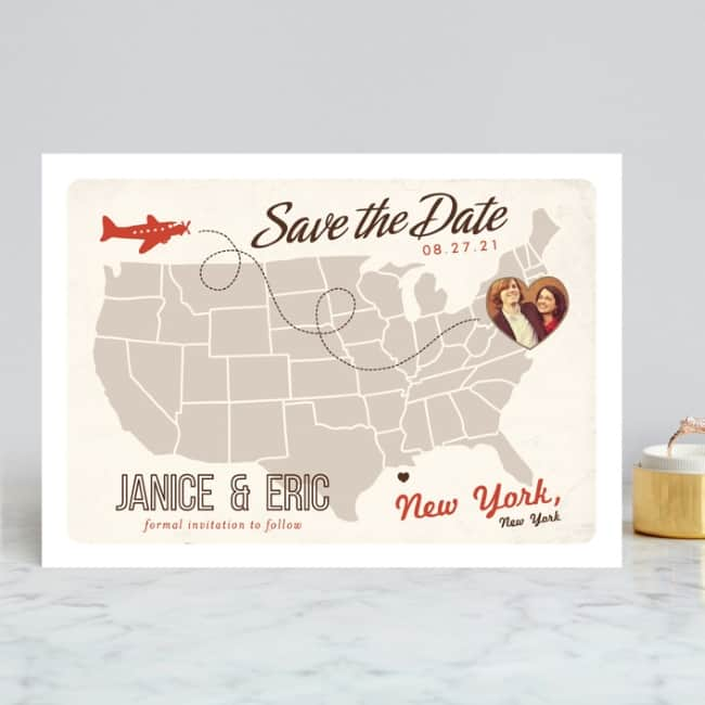 Destination wedding save the date example Minted