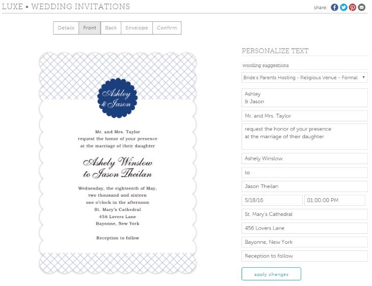 Evermine Wedding stationery Design Tool