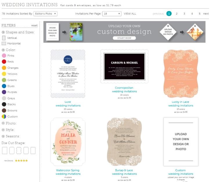 Evermine Wedding stationery webpage